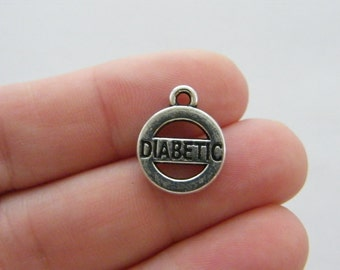 4 Diabetic charms antique silver tone MD49