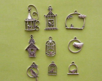 The Bird Cage Collection - 9 different antique silver tone charms