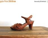 ON SALE 1970s Wooden Platforms / 70s Ankle Strap Platform Heels / Size 5 M