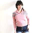 Vintage Nordic Sweater / 1970s 1980s Pink Wool Knit Sweater
