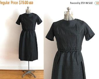 ON SALE 60s Little Black Dress / 1960s Black Silk Wiggle Dress