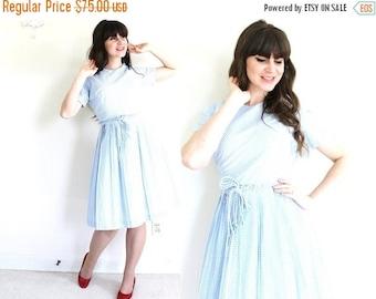 ON SALE 1960s Dress / 60s 50s Light Blue Gingham Dress / 60s Day Dress