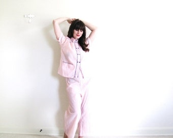 ON SALE 1940s Pajamas / 40s Lounge Set / 1940s Pink Pajamas