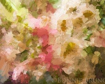 SPRING SONATA fine art print - impasto painting, soft pastel tones, floral abstract wall art, home decor, wall decor