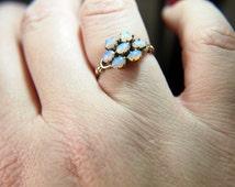 Victorian Opal Flower Ring - 10k Gold - Vintage