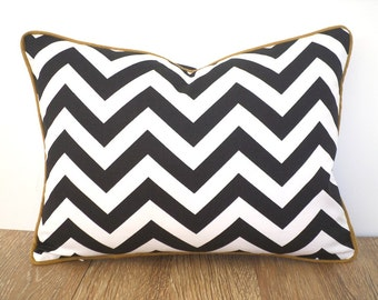 Chevron lumbar pillow case in black and gold decor, small zigzag lumbar pillow for sofas, modern living room pillow, black white pillow