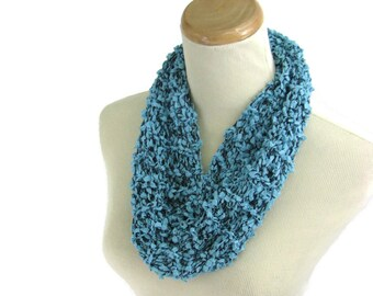 Knit Cowl, Necklace Scarf, Circle Scarf, Gift For Her, Turquoise Scarf, Women Scarf, Fiber Art, Fashion Scarf, Mothers Day, Spring Scarf