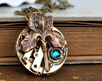ANTIQUE IRIS,  antiqued flower steampunk watch movement necklace in antiqued brass