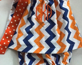 SALE UF Gator Chevron Dress Monogrammed with Matching Bloomers