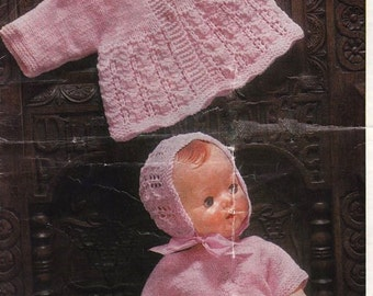 Doll Baby Knitting Pattern, Dress, Jacket, Bonnet and Booties  -16 or 20 inch DOWNLOAD NOW