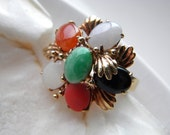 RESERVED - 14k solid yellow gold jade and coral cocktail ring - vintage jewelry - alternative engagement ring wedding ring