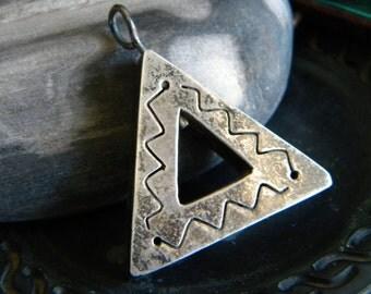 Sterling silver Southwest style large vintage snake serpent pendant - vintage jewelry