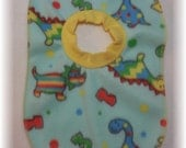 Baby bib pullover fleece dinosaur print for baby through toddler years