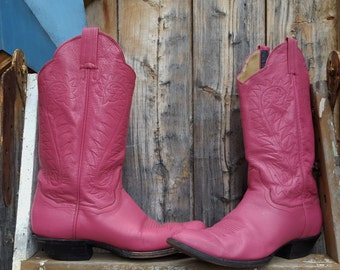 1980's, pink, cowgirl boots, size 7 1/2, made by Panhandle Slim