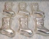 Vintage Mirror Wear-Ever Aluminum Metal Santa Claus Christmas Stocking Mold, Set Six, Jello, Pudding, Angel Food Cake, Mid Century Kitchen