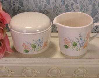 Vintage Corelle Glenora Cream and Sugar Set with Lid, Mid Century, Orange Floral Pattern, Corelle Dinnerware, Cornerstone Kitchen Glass