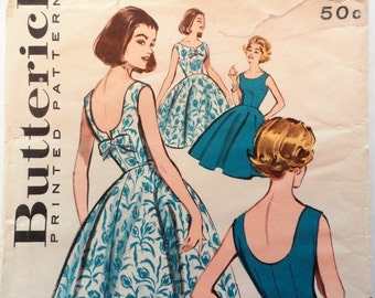 1960s Dress pattern, full skirt party dress, scoop neckline low back sleeveless Butterick 9366 misses size 12 bust 32 vintage sewing pattern