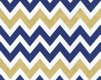SuperBowl Sale Remix Metallic Chevron by Ann Kelle for Robert Kaufman Fabrics, Metallic Indigo 1/2 yd total