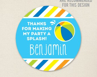 Pool Party Favor Stickers - Sheet of 12 or 24