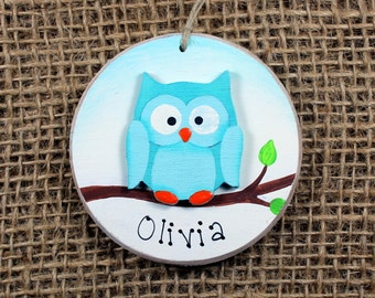 Owl Ornament~Keepsake~First Christmas~Personalized~Baby~Child's name