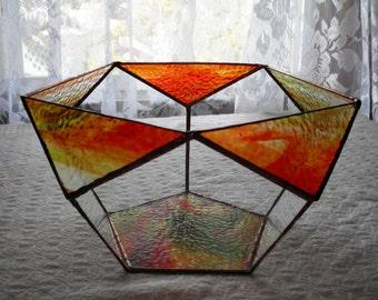 Geometric StainedGlass Bowl, Pentagon, Centerpiece, Home Decor
