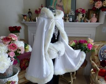 Frozen Bridal Cape 37 inch White / White Satin Medium-length-cape  with Fur trim Wedding Cloak Handmade in USA