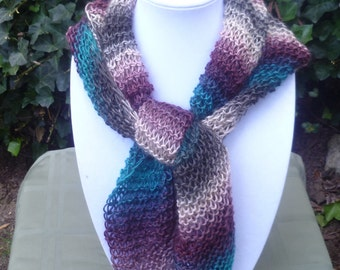 Hand Knit fall scarf -Triangle scarf - Hand Knit Multi color Scarf- Hand Knit scarf - Women's scarf - scarve