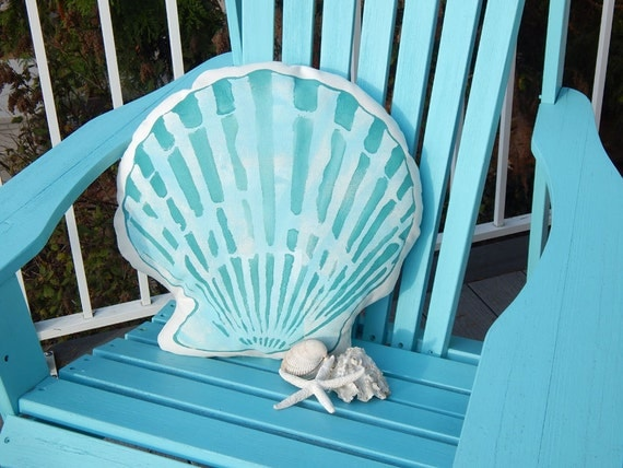 "Outdoor pillow SCALLOP SILHOUETTE your color choice painted 18"" beach beachcombing shell ocean marine coastal sand shoreline Crabby Chris™"