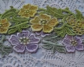 Pink Yellow Flower Hand Dyed Venise Lace Embellishment Trim Applique