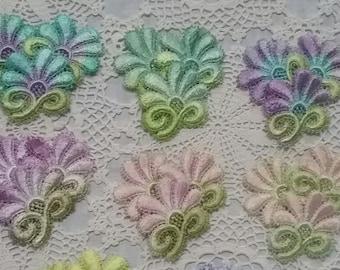 Venise Lace Flowers Hand Dyed Crazy Quilt Applique Crazy Quilt Embellishment