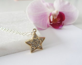 Gold Star Necklace, Star Jewelry, Mix Metal Necklace, Gold and Silver Jewelry,Gold Silver Necklace,Sparkly Star Necklace,Bridesmaid Necklace