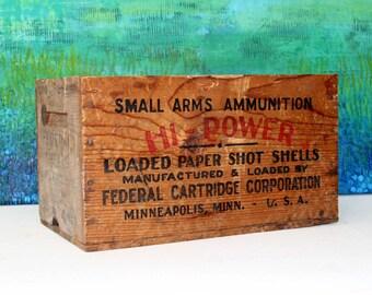 Vintage Rustic Ammunition Crate / Industrial Storage / Hi-Power Loaded Paper Shot Shells Crate
