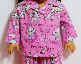 ARISTOCATS MARIE Cotton Pajamas fit 18inch Dolls - Proudly Made in America