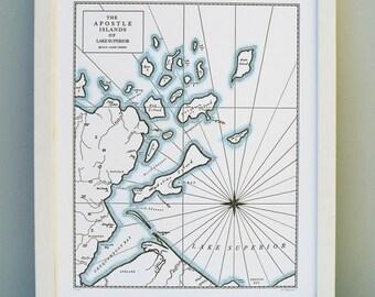 The Apostle Islands, Lake Superior, Bayfield Wisconsin Letterpress Map Art Print