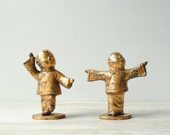 Vintage Japanese Figurines, Gilded Singing Children Figures