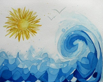 Sun and surf, original watercolor painting, blue and yellow, geometric, beach, ocean, abstract, waves, water, bathroom art