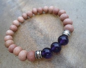Rosewood Amethyst Bracelet Intuition Clarity Calm Sobriety Gift Recovery Bracelet Recovery Gifts AA Gift  Men's Stack Unisex Stack Bracelet