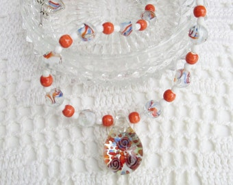 You're So Fine Diva Necklace Set - AB Czech Faceted Glass Beads in Hues of Orange and Blue - Orange Ceramic Beads - Chic and Classy Diva