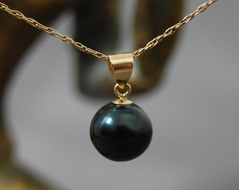 Nisha - Deep Midnight Black Freshwater Pearl Pendant Set in solid 14kt Gold, OOAK, Birthday, Goth, teens, women, gift idea for her, Prom