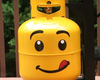 Large lego face vinyl decal for your propane tank - DECAL ONLY tank not included