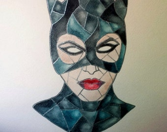 Catwoman Original Stained Glass Painting