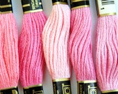 DMC floss, pink embroidery floss, 10 skeins of 6 strand floss for cross stitching, needlepoint