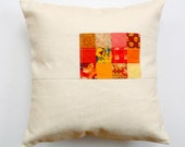 Pop of color pillow, orange, linen pillow, color block pillow, decorative pillow, modern country, envelope opening, cushion cover only