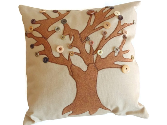 "Appliqued tree pillow cover, decorative pillow, autumn pillow, button leaves, 14"" toss pillow, complete with insert, fall decor"