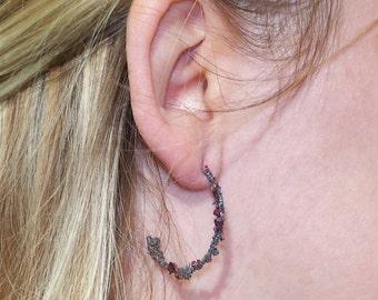 20% OFF Half Hoop C Earrings Crushed Garnet & Spectral Hematite Argentium Silver .930 20 GA