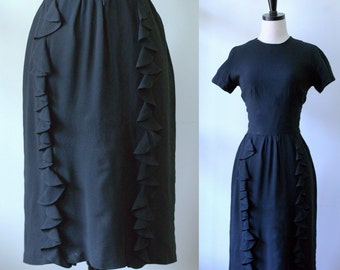 Black Cocktail Dress SM Vintage 1960s Dress Black Party Dress Ruffled Black Dress 1960s Cocktail Dress Evening Ruffled Party Dress Small