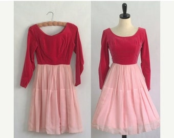 50s Dress 1950s Dress Hot Pink Cocktail Dress Pink Velvet Dress Semi Formal Bridesmaid Dress Prom Dress 1950s Clothing Womens XXS