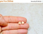 SALE Tiny Apricot Rose Earrings / Blush Rose Stud Earrings / Neutral Color Jewelry, Pale Flower Earrings / The Rosie Small Size Studs