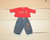 Jeans and Coral Coloured Tshirt - 12 inch doll clothes