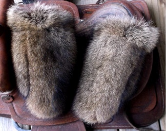 Raccoon fur mittens with red fleece liner handmade X large